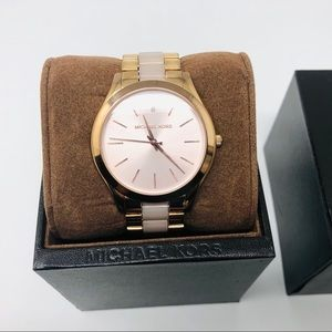 MICHAEL KORS GOLD WATCH WITH PINK ACCENTS